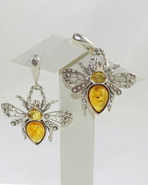 Luxury Earrings With Natural Baltic Amber In Silver 925°