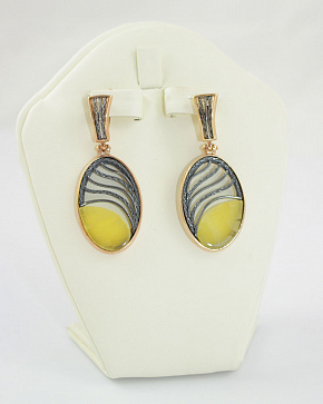 Yodirovannoye Gold Plated Earrings In Silver 925° With An Insert From Natural Baltic Amber
