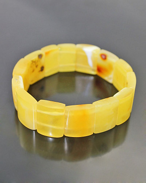Nontrivial Bracelet Made Of Natural Amber Colors Of The Landscape-white And Honey-Matt