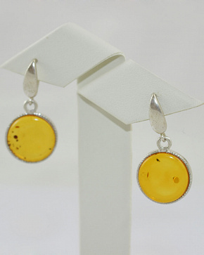 Round Earrings With Natural Baltic Amber