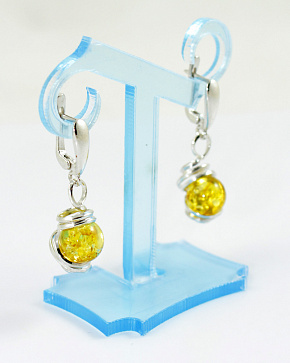 Earrings In Silver 925° With An Insert From Natural Baltic Amber Golden Brown