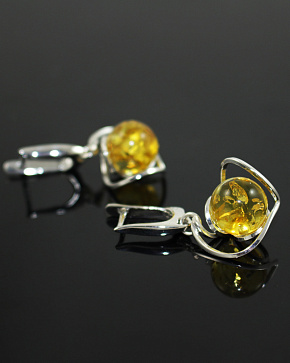 Luxurious Earrings Made Of Silver 925° With An Insert From Natural Baltic Amber