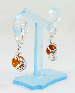 Earrings In Silver 925° With An Insert Made Of Natural Baltic Amber Of Cognac Color