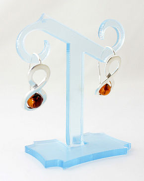 Excellent Silver Earrings 925° With An Insert From Natural Baltic Amber