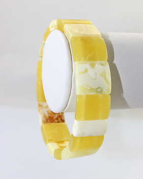 Exclusive Bracelet In Honey Matte And White Landscape Natural Baltic Amber