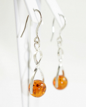 Silver 925° Insert Earrings From Natural Baltic Amber
