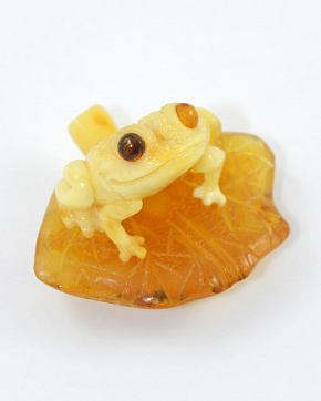 Frog On A Piece Of Natural Solid Baltic Amber
