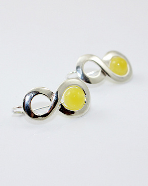Beautiful Silver Earrings 925° With An Insert From Natural Baltic Amber