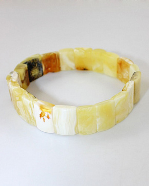 Striking Bracelet Made From Natural Amber Colors Of The Landscape-white And Honey-Matt