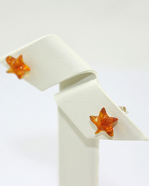 Earrings-ear-stud Stars Out Of Natural Baltic Amber