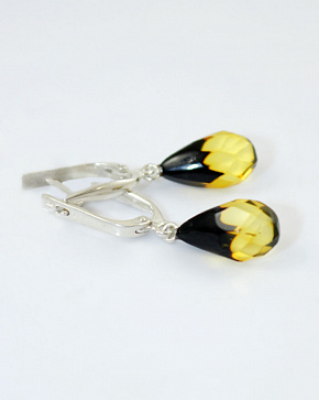 Beautiful Silver 925° Insert Earrings From Natural Baltic Amber