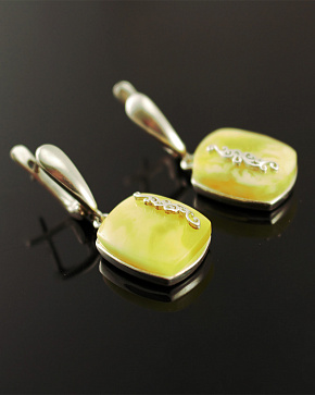 Honey Earrings Of Silver 925° With Natural Baltic Amber