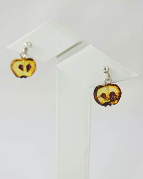Earrings-ear-stud Made Of Natural Baltic Amber Apples