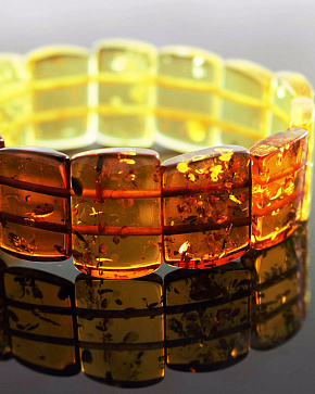 Bracelet From Natural Baltic Amber Lemon And Brandy