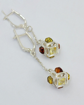 Stylish Silver 925° Insert Earrings From Natural Baltic Amber
