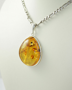 Exquisite Large Silver Pendant Made Of Natural Baltic Amber Golden Brown