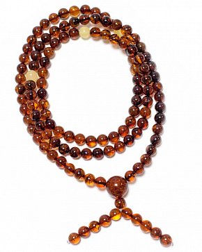 Buddhist Prayer Beads 108 Beads-balls Made Of Natural Baltic Amber Made In Cognac Cherry Color
