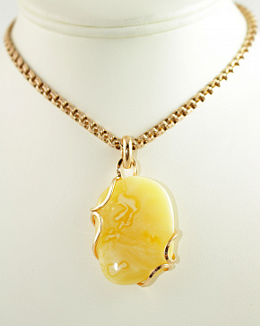 Pendant In Gold Plated Silver 925° Insert From Natural Baltic Amber