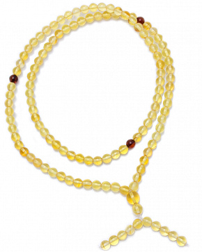 Buddhist Rosary Of 108 Beads-balls Transparent Lemon-colored Amber