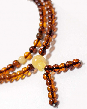 Buddhist Rosary Of 108 Beads-balls Natural Baltic Amber Cognac Color