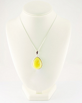 Large Delicate Pendant Made Of Natural Baltic Amber Golden Color In Silver