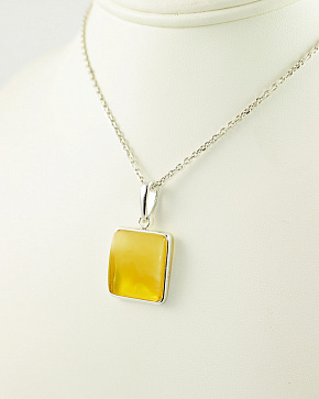 Classic Silver 925° Pendant With An Inset Of Natural Baltic Amber Lemon Color